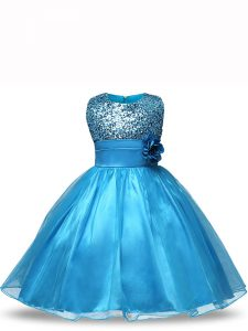 Inexpensive Sleeveless Knee Length Sequins and Hand Made Flower Zipper Child Pageant Dress with Baby Blue