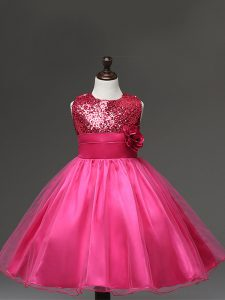 Inexpensive Hot Pink Tulle Zipper Pageant Gowns For Girls Sleeveless Knee Length Sequins and Hand Made Flower