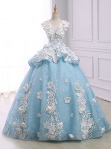 Best Light Blue Ball Gowns Scoop Sleeveless Organza Court Train Lace Up Appliques 15 Quinceanera Dress