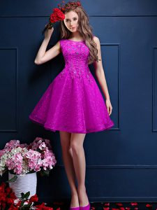 Spectacular Fuchsia Bateau Neckline Beading and Lace Quinceanera Court of Honor Dress Sleeveless Lace Up