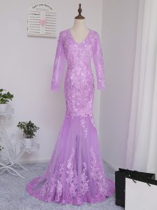 Fine Lilac Long Sleeves Brush Train Lace and Appliques Mother Of The Bride Dress