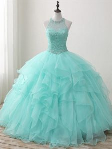 Best Sleeveless Floor Length Beading and Ruffles Lace Up Quinceanera Gown with Apple Green