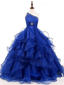 Royal Blue Sleeveless Beading and Ruffles Floor Length Little Girls Pageant Gowns