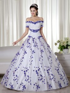 Sumptuous White Ball Gowns Embroidery Quince Ball Gowns Lace Up Organza Short Sleeves Floor Length