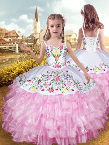 Organza and Taffeta Sleeveless Floor Length Little Girls Pageant Gowns and Embroidery and Ruffled Layers