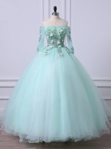 Dazzling Apple Green 3 4 Length Sleeve Beading Floor Length 15 Quinceanera Dress with Jewelry