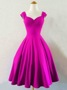 Latest Fuchsia A-line Taffeta Straps Sleeveless Ruching Knee Length Lace Up Quinceanera Dama Dress