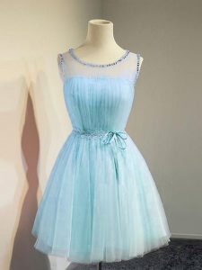 Aqua Blue Lace Up Scoop Belt Court Dresses for Sweet 16 Tulle Sleeveless