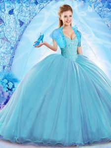 Baby Blue Ball Gowns Organza Off The Shoulder Sleeveless Beading Lace Up Ball Gown Prom Dress Sweep Train