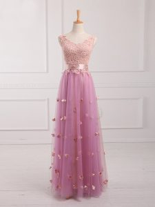 Floor Length Empire Sleeveless Lilac Quinceanera Court Dresses Lace Up