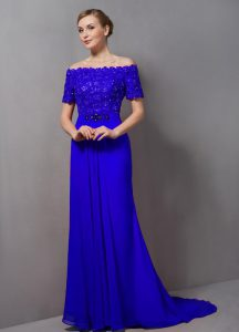 Cheap Zipper Mother Of The Bride Dress Royal Blue for Prom and Party with Lace Sweep Train
