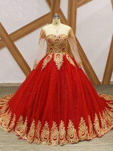 Affordable Long Sleeves Court Train Lace Up Beading and Appliques Sweet 16 Dresses