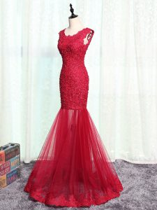 Red Tulle Zipper Mother Of The Bride Dress Sleeveless Floor Length Lace and Appliques