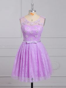 Scoop Sleeveless Lace Up Dama Dress Lilac Lace