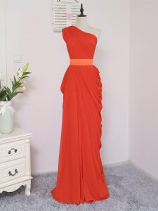 Coral Red Sleeveless Floor Length Pick Ups Zipper Damas Dress