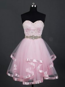 Baby Pink Zipper Quinceanera Court of Honor Dress Beading and Lace and Ruffles Sleeveless Mini Length