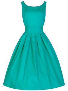 Custom Fit Turquoise Sleeveless Ruching Knee Length Quinceanera Dama Dress
