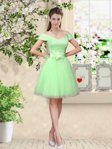 Apple Green Cap Sleeves Knee Length Lace and Belt Lace Up Quinceanera Dama Dress