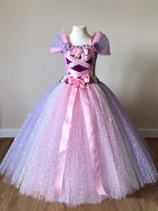 Custom Fit Multi-color Ball Gowns Tulle Off The Shoulder Cap Sleeves Sequins and Bowknot Floor Length Side Zipper Child Pageant Dress