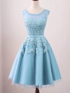 Dramatic Tulle Scoop Sleeveless Zipper Lace Dama Dress in Aqua Blue