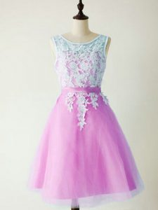 Decent Lilac Sleeveless Knee Length Lace Lace Up Quinceanera Court Dresses