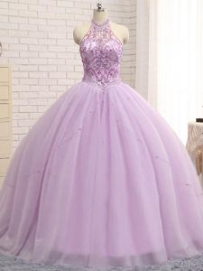 Ball Gowns Sleeveless Lilac Sweet 16 Dresses Brush Train Lace Up
