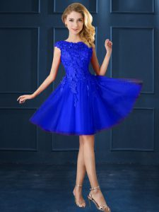 Affordable Blue Lace Up Bateau Lace and Belt Court Dresses for Sweet 16 Tulle Cap Sleeves