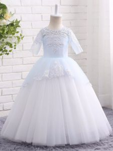 Graceful Blue And White Half Sleeves Floor Length Appliques Clasp Handle Little Girls Pageant Dress