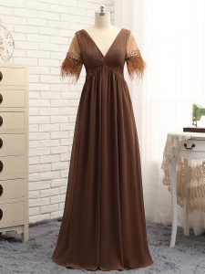 Chiffon Sleeveless Floor Length Mother Dresses and Beading and Ruching