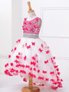 A-line Pageant Gowns For Girls White Scoop Tulle Sleeveless High Low Zipper