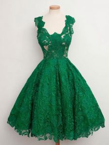 Free and Easy Knee Length A-line Sleeveless Green Quinceanera Dama Dress Zipper