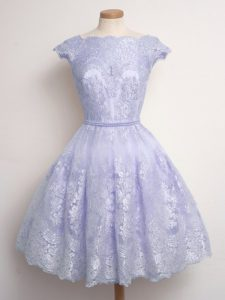 Knee Length Lace Up Quinceanera Court of Honor Dress Lavender for Prom and Party and Wedding Party with Lace