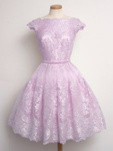 Lilac Vestidos de Damas Prom and Party and Wedding Party with Lace Scalloped Cap Sleeves Lace Up