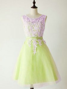 Ideal Knee Length Lace Up Vestidos de Damas Yellow Green for Prom and Party and Wedding Party with Lace