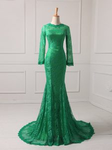 Top Selling Green Mermaid Lace Mother Of The Bride Dress Zipper Lace Long Sleeves
