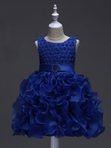 Knee Length Lace Up Little Girl Pageant Gowns Royal Blue for Wedding Party with Ruffles and Belt