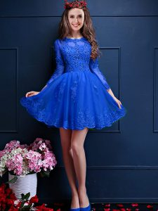 Traditional Mini Length A-line 3 4 Length Sleeve Royal Blue Dama Dress for Quinceanera Lace Up