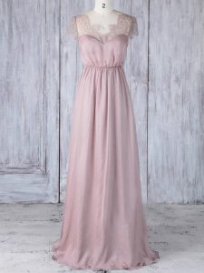 High Quality Pink Short Sleeves Chiffon Clasp Handle Court Dresses for Sweet 16 for Prom and Party and Wedding Party