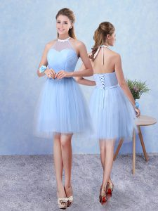 Cheap Sleeveless Tulle Knee Length Lace Up Court Dresses for Sweet 16 in Blue with Ruching