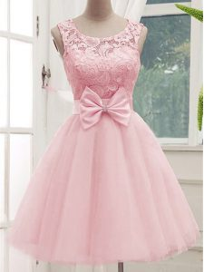 Nice Baby Pink A-line Tulle Scoop Sleeveless Lace and Bowknot Knee Length Lace Up Damas Dress