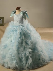 Custom Design Light Blue Zipper Scoop Beading and Ruffles and Bowknot Kids Pageant Dress Tulle Sleeveless Brush Train