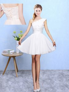 Knee Length White Dama Dress Asymmetric Sleeveless Lace Up