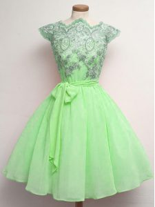 Top Selling A-line Chiffon Scalloped Cap Sleeves Lace and Belt Knee Length Lace Up Dama Dress for Quinceanera