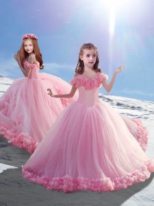 Wonderful Off The Shoulder Sleeveless Court Train Lace Up Little Girls Pageant Gowns Baby Pink Tulle