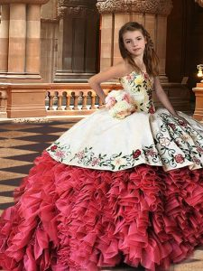 Amazing Brush Train Ball Gowns Pageant Gowns For Girls White And Red Strapless Organza Sleeveless Lace Up