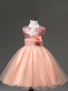 New Arrival Peach Ball Gowns Sequins and Hand Made Flower Pageant Gowns For Girls Zipper Tulle Sleeveless Knee Length