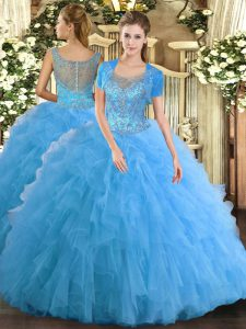 Traditional Aqua Blue Tulle Clasp Handle Scoop Sleeveless Floor Length Sweet 16 Dresses Beading and Ruffled Layers