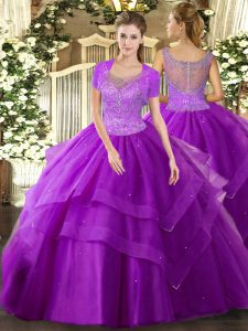 Unique Eggplant Purple Ball Gowns Beading and Ruffles Quinceanera Gown Clasp Handle Tulle Sleeveless Floor Length