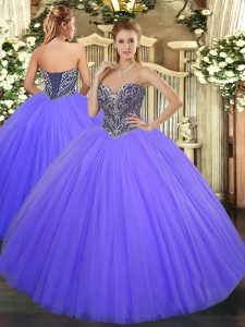 Lavender Sleeveless Tulle Lace Up Sweet 16 Dresses for Military Ball and Sweet 16 and Quinceanera