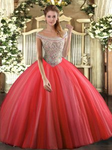 Tulle Off The Shoulder Sleeveless Lace Up Beading 15 Quinceanera Dress in Coral Red